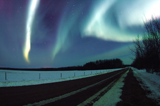 colorful northern lights in Alberta, Canada