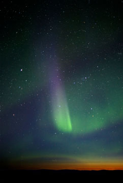 multi-colored aurora borealis at twilight