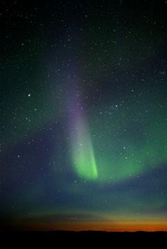 multi-colored aurora borealis at twilight